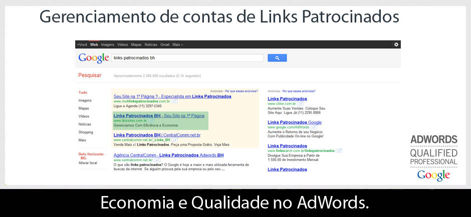 Links Patrocinados do Google.